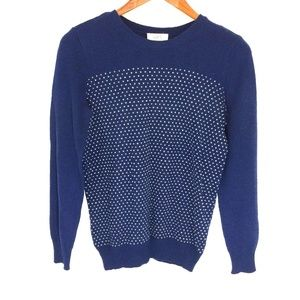 LOFT blue white hearts knit crewneck sweater